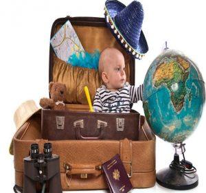 bebé, maleta, excursión, mundo