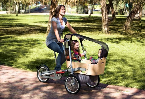 bebé, bicicleta, madre, parque, verano, actividades