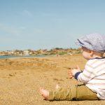 bebé, playa, ropa, gorrito, arena, vacaciones, verano
