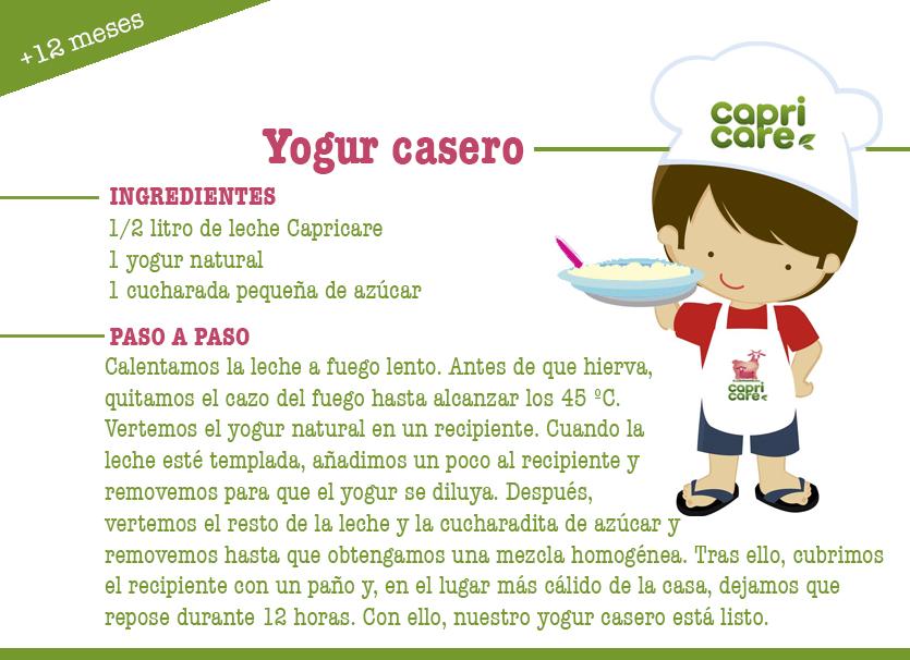 yogur casero, Capricare, leche de fórmula, Recetas Capricare